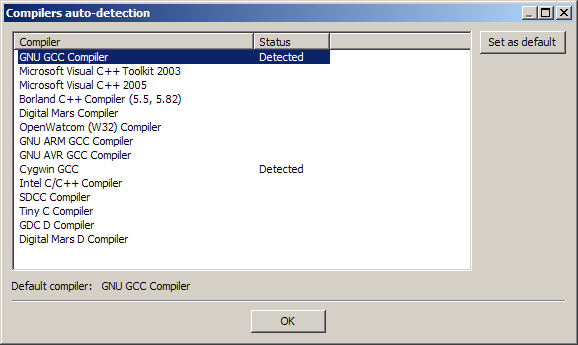 code blocks 12.11 avec compilateur